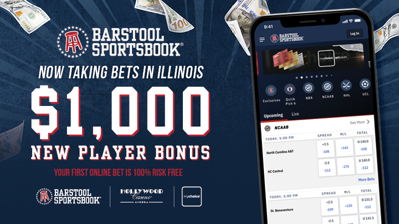 "smartphone with Barstool Sportsbook app, Barstool Sportsbook logo, text ""now taking bets in Illinois / $1,000 / New Player Bonus / Your first online bet is 100% risk free"" / Barstool Sportsbook, Hollywood Casino Aurora & mychoice logos"