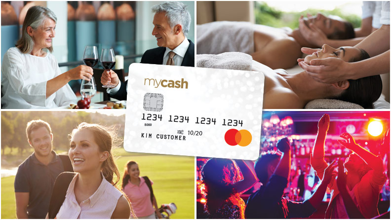 mycash mastercard credit card on top of 4 images, dining, massage, golf and dancing